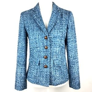 J. McLaughlin Blazer Sz 4 Blue Tweed Lined Career
